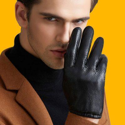 دستکش چرم مردانه مشکی